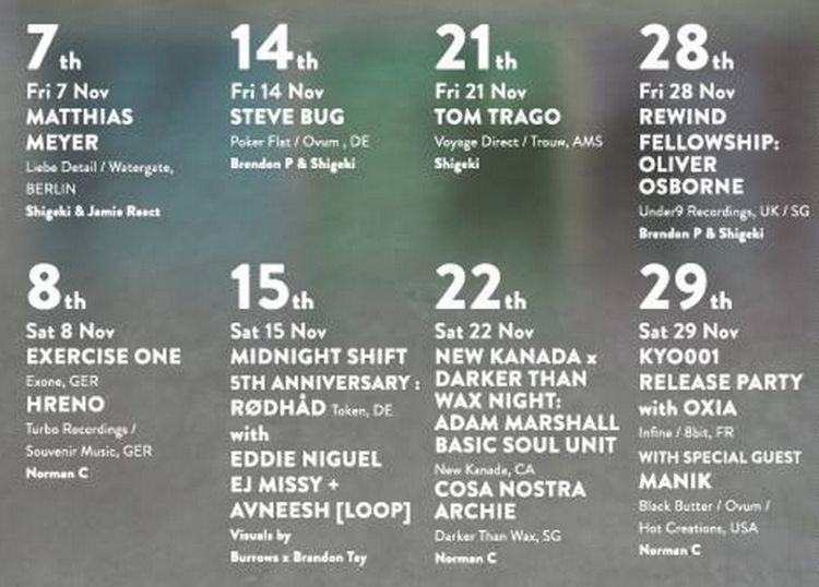 Club kyo announces november lineup